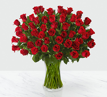 Fifty Long Stem Red Roses of Romance