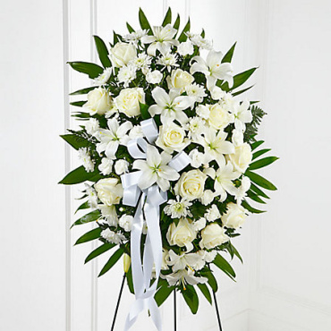 Exquisite Tribute Standing Spray-White Ribbon