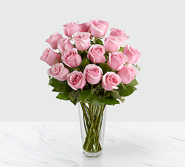 12 Long Stem Pink Rose Bouquet